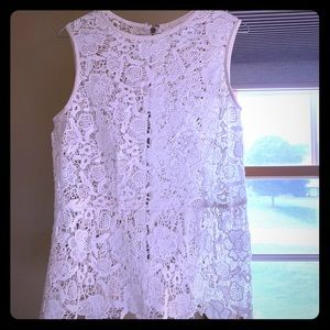 Cabi, lace, off white top